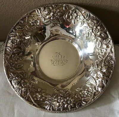 S Kirk and Son Sterling Silver 10 inch Bowl Repousse Stieff Rose 15x