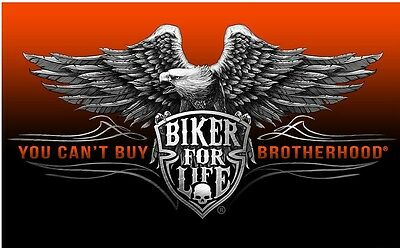 Brotherhood  Fahne Heritage Flag Biker Fahne Rocker orange Adler USA Club DW0607
