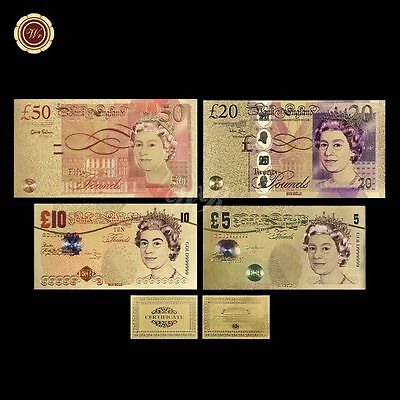 £5 £10 £20 £50 UK Pound Banknote Colorized Gift Set Gold Plated Banknote Set