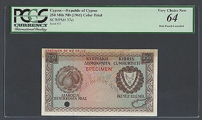 Cyprus 250 Mils ND(1961) P37ct Color Trial Uncirculated