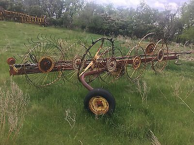 Wheel Hay Rake - good condition -red and yellow