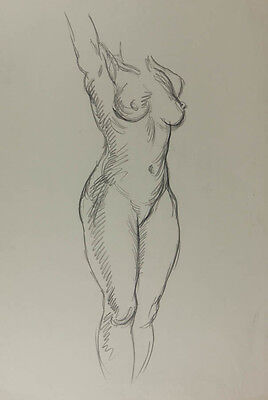 Robert Mackechnie - Mid 20th Century Charcoal Drawing, Nude Study