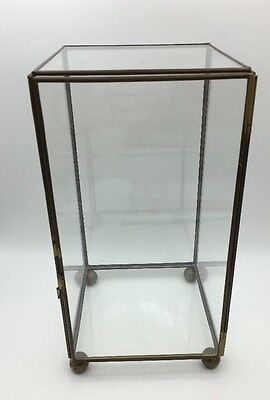 "Vintage 10"" Tall Glass Brass Curio Display Specimen Cabinet Box Case Ball Footed"