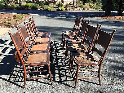 Set Of 8 Oak Chairs From 1930's