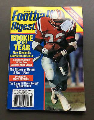 NFL FOOTBALL DIGEST Magazine Leonard Russell Cover March 1992 Gridiron Rare