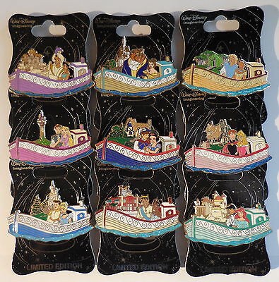 Disney Pin WDI Exclusive Storybookland Canal Boats Set of 9 Pins LE300