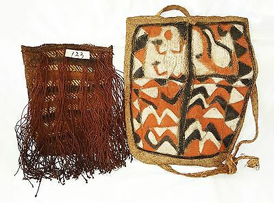 2x New Guinea Asmat Tribe Natural Fiber and Natural Pigment Woven Bags (Eic)