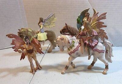Vintage Schleich Horse,  Fairy Rider Lot 4 Fairies And 3 Horses
