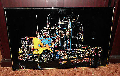 70's VINTAGE SEMI TRAILER TRUCK KENWORTH MACK WALL FOIL PICTURE SIGN ADVERTISING