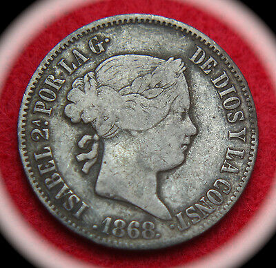 1868 Philippines 50 Centimos KM# 147 Silver Coin - No Reserve