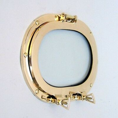 "12"" Brass Oval Porthole With Glass-Nautical Decor-Wall Decor"