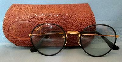 Vintage RAY-BAN Black Snake Leather Frame Sunglasses Bausch & Lomb SUPER!