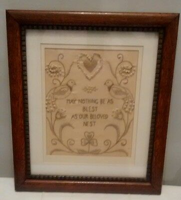 Antique Textile Hand Embroidery Verse Oak Framed