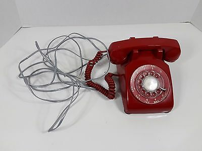 vintage ITT rotary dial phone cherry red made Canada Manitoba Telephone System