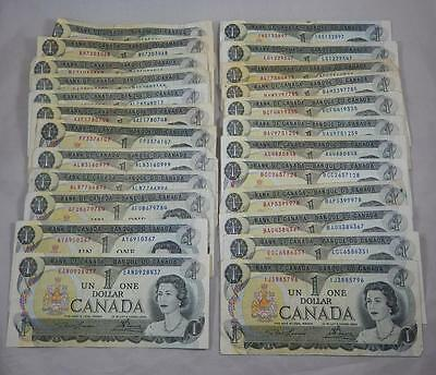 Bank of Canada Series 1973 $1 Dollar Lot of 24 Banknotes  P0029