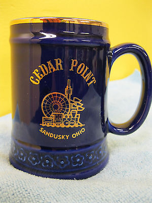 Vintage Cedar Point Souvenir Mug Sandusky Ohio Theme Park Gold Trim Japan
