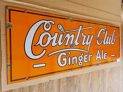 Vintage Golf Country Club Ginger Ale Porcelain/steel Soda Store Display Sign