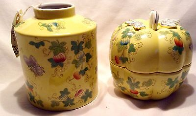 Andrea By Sadek Yellow Butterfly Vase And Pumpkin Bowl With Top Made In Japan