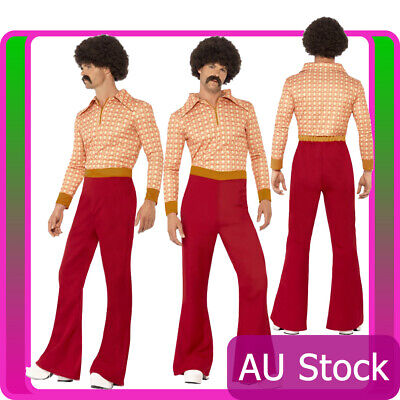 Mens 70s 60s Authentic Guy Hippy Hippie Dance Disco Woodstock Retro 70's Costume