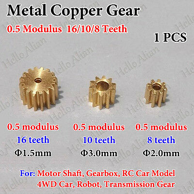 Metal Gear Spindle Copper Gear 0.5 Modulus 8/10/16 Teeth Motor Transmission Gear
