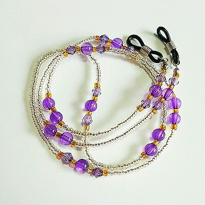 Purple bead lanyard Sunglasses reader Eye glasses Chain lanyard strap spectacle