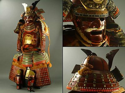 Japanese Wearable SAMURAI Warrior YOROI Armor & KABUTO Helmet w/ Box: AT299