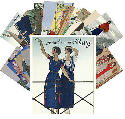 Postcards Pack [24 cards] Andre Marty Vintage French Art Deco Ponchoir CC1036