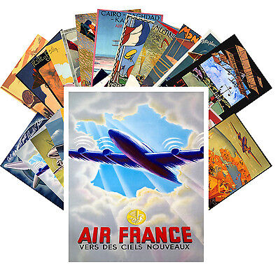 Postcards Pack [24 cards] Aviation Planes Vintage European Travel Posters CC1058