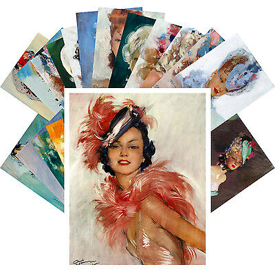 Postcards Pack [24 cards] Beautiful Girls Portrait Jean Domergue Vintage CC1034