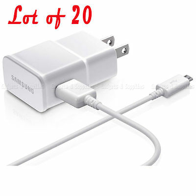 New Genuine Samsung Travel Charger OEM Lot of 20 Galaxy S3 S4 Note 2 2.0A