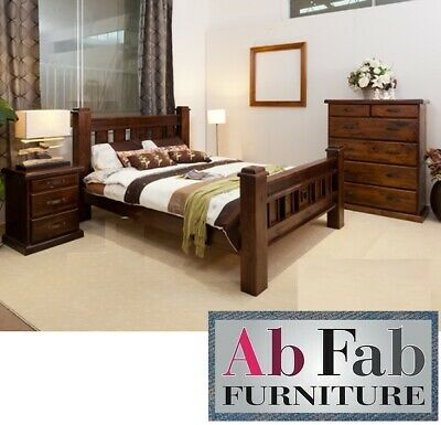 QUEEN SIZE RUSTIC BEDROOM SUITE BED FRAME & 2 x BEDSIDE CHEST ONLY