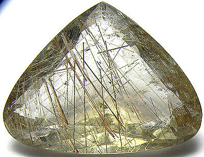 40.25Cts Very Beautiful 100% Natural Rutilated Quartz With Needles Cut Gemstone