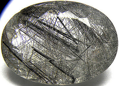 61.50Cts Very Beautiful 100% Natural Rutilated Quartz With Needles Oval Cut Gem!