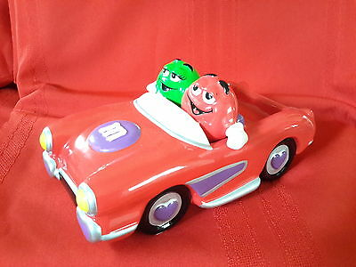M&M RED CAR GALERIE MARS 2003 CERAMIC GREEN PURPLE CANDY DISH Hearts