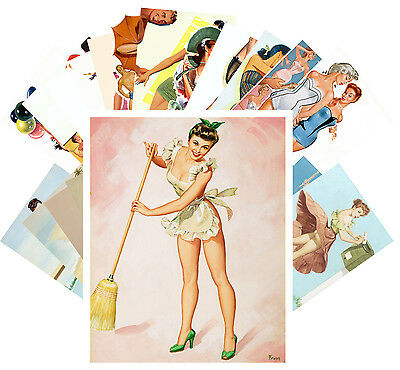 Postcards Pack [24 cards] Pinup Sexy Girls Pulp Fiction Magazine Vintage CC1049
