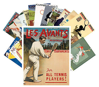 Postcards Pack [24 cards] Tennis Player Sport Vintage Euro Travel Posters CC1030