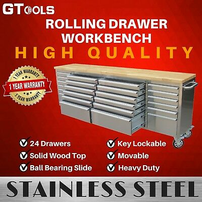 "96"" Heavy Duty 24 drawers Sturdy Rolling Wooden Top Stainless Steel Workbench"