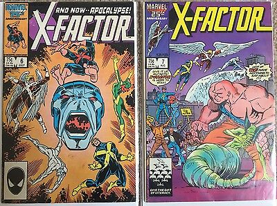 X-FACTOR # 6 + 7 Marvel Comics, Vol 1 , 1st Full Apocalypse Appearance , FN