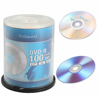 4.7GB Blank CD DVDS Full Face Recordable 16x Speed 100 DVD+R Media Discs NEW