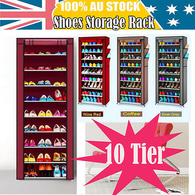 NEW 10-Tier Shoes Cabinet Storage Organizer Shoe Rack Portable Wardrobe & Cover