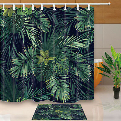 Green palm leaves Bathroom Decor Shower Curtain Waterproof Fabric w/12 Hook