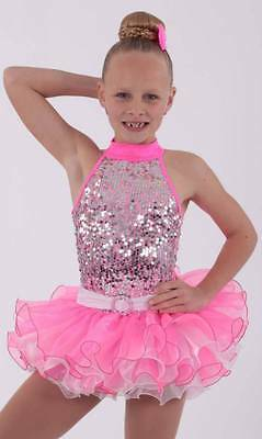 KINETIC CREATIONS Dance Costume Neon Sequin Tutu Dress