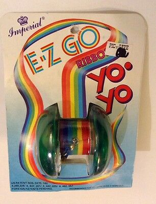 Vintage Imperial Rainbow Ribbon Yoyo Green E Z Go Yo Yo New Old Stock