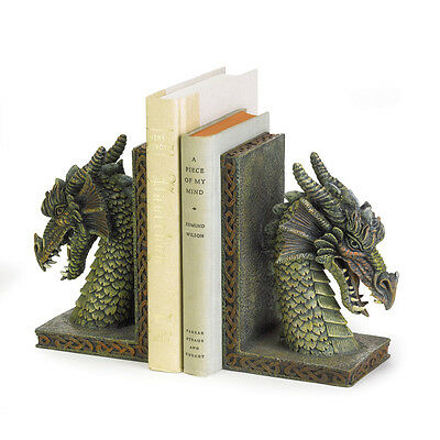 Bookends Set, Adjustable Rustic Bookends, Decorative Fierce Dragon Bookends