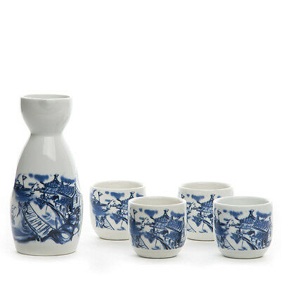 5pcs Antique Japanese Sake Tea Set Cups Blue And White Hand Painted Ceramic