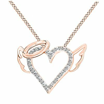 "Round Natural Diamond Heart Pendant W/18"" 14K Rose Gold Over 925 Sterling Silver"