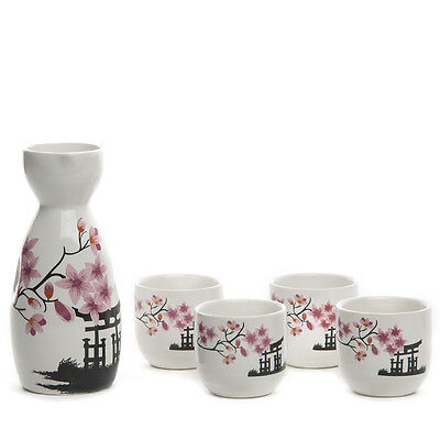 5pcs Antique Japanese Sake Set Saki Tea Cups Pink Flower Porcelain Ceramic Craft