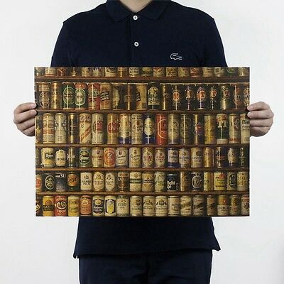 Beers Posters Kraft Paper Restaurant Bar Coffee Shop Wall Decorative Painting EW