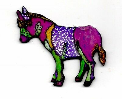 Donkey Brooch Pin Farm Animal Hand Painted Handcrafted