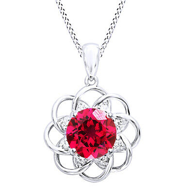 New 5ct Red Ruby Pendant Necklace Real Pure 925 Sterling Silver Gift For Women